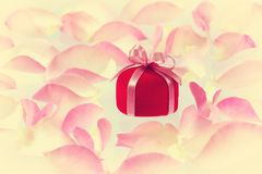 Background with small red velvet ring box Stock Photos