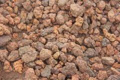 Background of Small Stones. Stones from Mount Etna. The island of Sicily, Italy. Volcanic Breed and Earth. Volcanic Lava. Stone. Texture for Design, Templates stock images