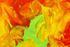 Background smear mixed colors green yellow orange red. Blended paints bright stormy royalty free stock photos