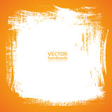Background smear paint bristle brush on orange Vector Illustration