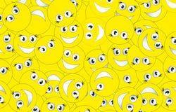 Background of smileys. Big yellow background of smileys Stock Photo