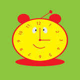 Background with smiling clock for baby. Vector colorful background with smiling clock for baby Royalty Free Stock Images