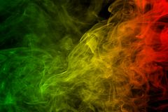 Background Smoke Curves And Wave Reggae Colors Green, Yellow, Red Colored In Flag Of Reggae Music