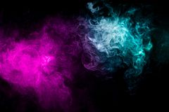 Background from the smoke of vape. Abstract art colored smoke on black isolated background. Stop the movement of multicolored smoke on dark background vector illustration