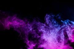 Background of smoke vape. Close up swirling pink and blue smoke on black isolated background stock illustration