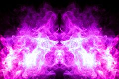 Background from the smoke of vape. Fantasy print for clothes: t-shirts, sweatshirts. Colorful pink smoke in the form of a skull, monster, dragon on a black royalty free illustration