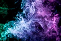 Background of smoke vape. Green, purple and blue cloud of smoke of  black  background. Background from the smoke of vape Vector Illustration