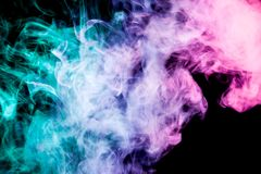 Background of smoke vape. Pink, blue and green cloud of smoke of black background. Background from the smoke of vape Vector Illustration