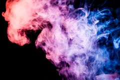 Background of smoke vape. Pink, blue and orange cloud of smoke of black background. Background from the smoke of vape vector illustration