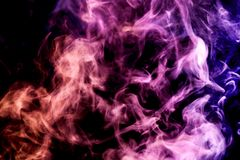 Background of smoke vape. Pink and orange  cloud of smoke of  black isolated background. Background from the smoke of vape Vector Illustration