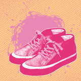 Background with sneakers Stock Photography