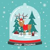 Background with snow, deer, fir trees royalty free illustration