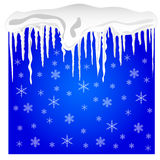 Background with snow and icicles Stock Photography