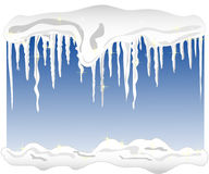 Background with snow and icicles Royalty Free Stock Photography