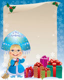 Background with Snow Maiden. And gifts. Contains transparent objects. Eps 10 Royalty Free Stock Image
