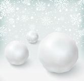 Background with snowballs and snow Stock Image