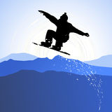 The Background with a snowboarder, skiers Stock Photo