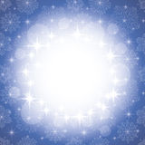 Background with snowflakes. Winter blue background with snowflakes and stars Royalty Free Stock Image