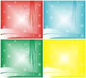 Background with snowflakes. The figure representing a pattern from white curls and lines and snowflakes on a red, blue, green and yellow background Stock Photos