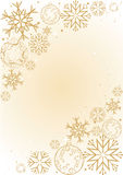 Background with snowflakes. In gold palette Royalty Free Stock Photos
