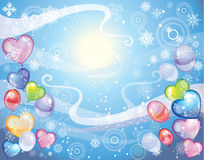 Background with snowflakes and balloons. Colorful holiday background with snowflakes and balloons and confetti. Vector Royalty Free Stock Images