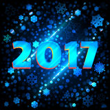 Background snowflakes 2017 for design. Background snowflakes 2017. New year, Vector illustration. Bokeh effect stock illustration