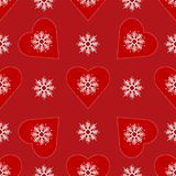Background with snowflakes and hearts. Seamless festive pattern  Royalty Free Stock Image