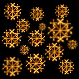 Background of snowflakes made  with sparklers on black Royalty Free Stock Photo