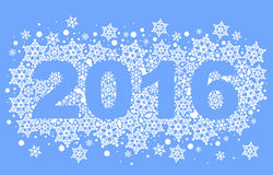 2016 background of snowflakes. Number text of symbol year 2016. Illustration in vector format Stock Photos