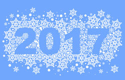 2017 background of snowflakes. Number text of symbol year Royalty Free Stock Photo