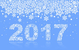 2017 background of snowflakes. Number text of symbol year 2017. Illustration in vector format Stock Image