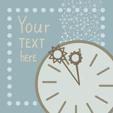 Background with snowflakes, round clock and arrows Royalty Free Stock Photography