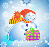 Background with snowman, gift  and snow Stock Photos