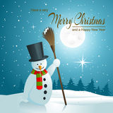 Background with Snowman Royalty Free Stock Image