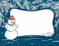Background with snowman and label Royalty Free Stock Image