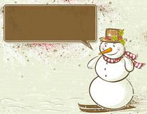 Background with snowman and label,  Royalty Free Stock Image