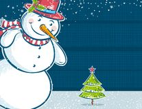 Background with snowman and one christmas tree Royalty Free Stock Image