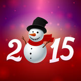 2015 background with snowman. 2015 red background with snowman Stock Image