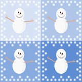 Background with snowmen. Snowmen at different shades of blue, framed in snowflakes stock illustration
