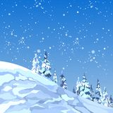 Background snowy mountain with firs and snowflakes. By day Royalty Free Stock Photo