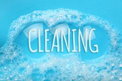 Background soap suds foam and bubbles from detergent. House cleaning concept.  stock photos
