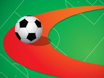 Background with soccer ball. Abstract background with soccer ball on red line Royalty Free Stock Photos