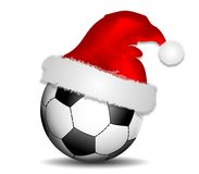 Background with soccer ball and christmas hat Royalty Free Stock Image