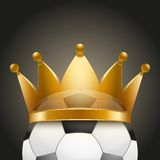Background of Soccer ball with royal crown Royalty Free Stock Image