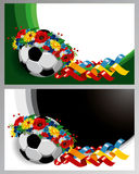 Background with Soccer ball in a wreath of flowers Stock Images