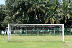 Background: soccer goal. With green environment Royalty Free Stock Images