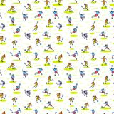 Background with soccer players with ball . Seamless pattern of m. Inimalistic doodle sportsmen in action. Vector illustration with football team on competition Royalty Free Illustration