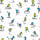 Background with soccer players with ball . Seamless pattern of m. Inimalistic doodle sportsmen in action. Vector illustration with football team on competition Stock Image