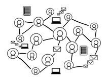 Background of Social network with silhouette icons Royalty Free Stock Photography
