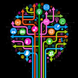 Background social network tree. The tree consisting of the arrows and icons on the topic of social media